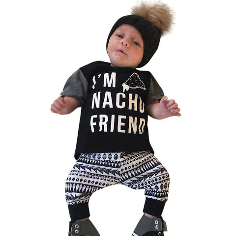 New 2017 Summer baby boy clothes cotton letter black short-sleeved t-shirt+Printing clouds pants newborn baby girl clothing set