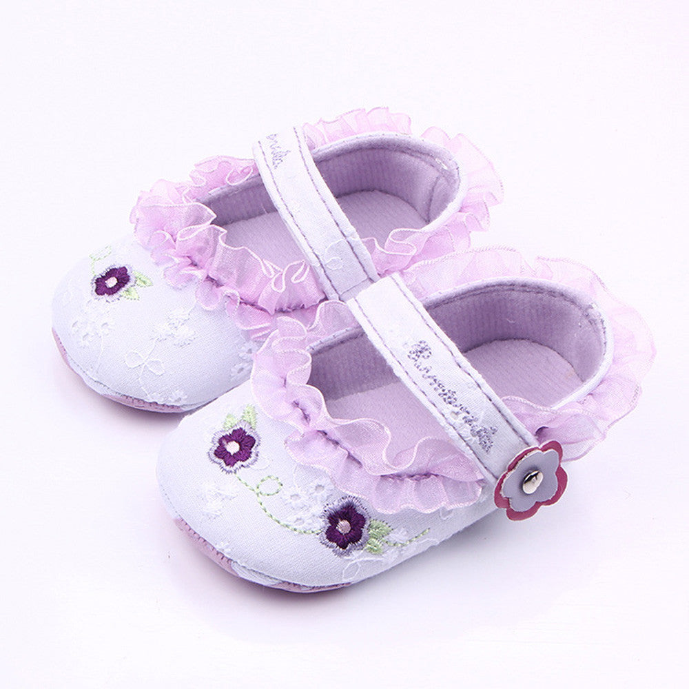 Classic Children Baby Kids Boy Girl Lace Flower Embroidery Floor Shoes 2017 Autumn Fashion Non-Slip Soft Toddlers First Walkers