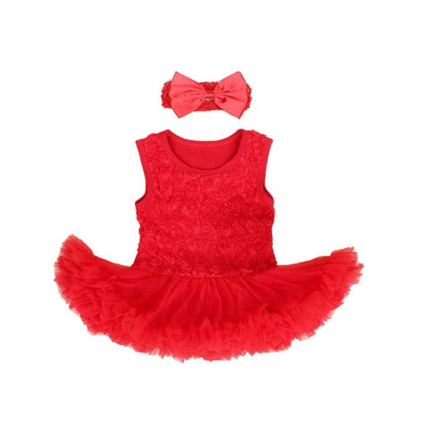 Girl Dress Newborn Birthday Gift for Baby Girls Party Outfit Clothing Infant Romper+Headband Baby Tutu Dresses with Rose