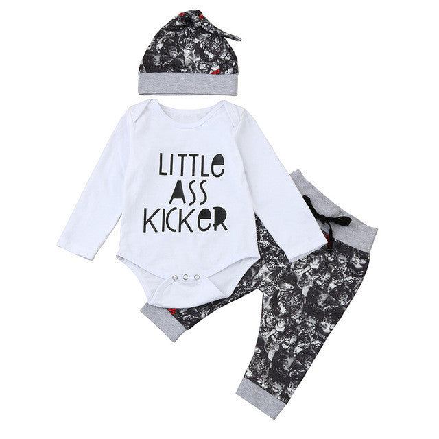 Letters Little Ass Kicker Baby Clothes Sets Long Sleeve Top Romper Printed Pant with Hat 3PCS Baby Boys Girls Clothing Sets