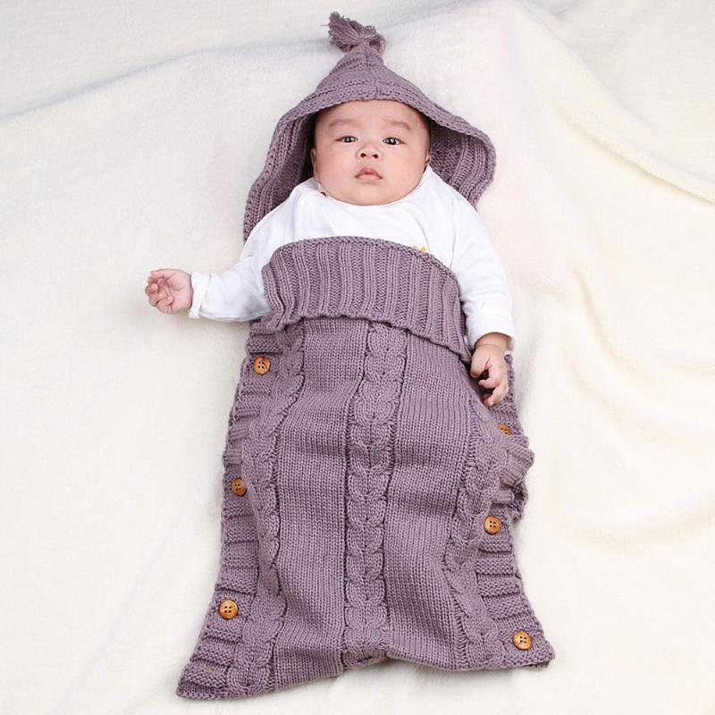 Large Removable Envelope for Newborns Baby Blanket Lovely Bedding Sleeping Bag Baby Knit Crochet Cotton Swaddle Wrap Winter
