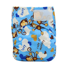 Baby Cloth Diaper One Size Adjustable Pocket Diapers Waterproof Printed PU Hook and Loop Diaper Cover Reusable Cloth Nappies