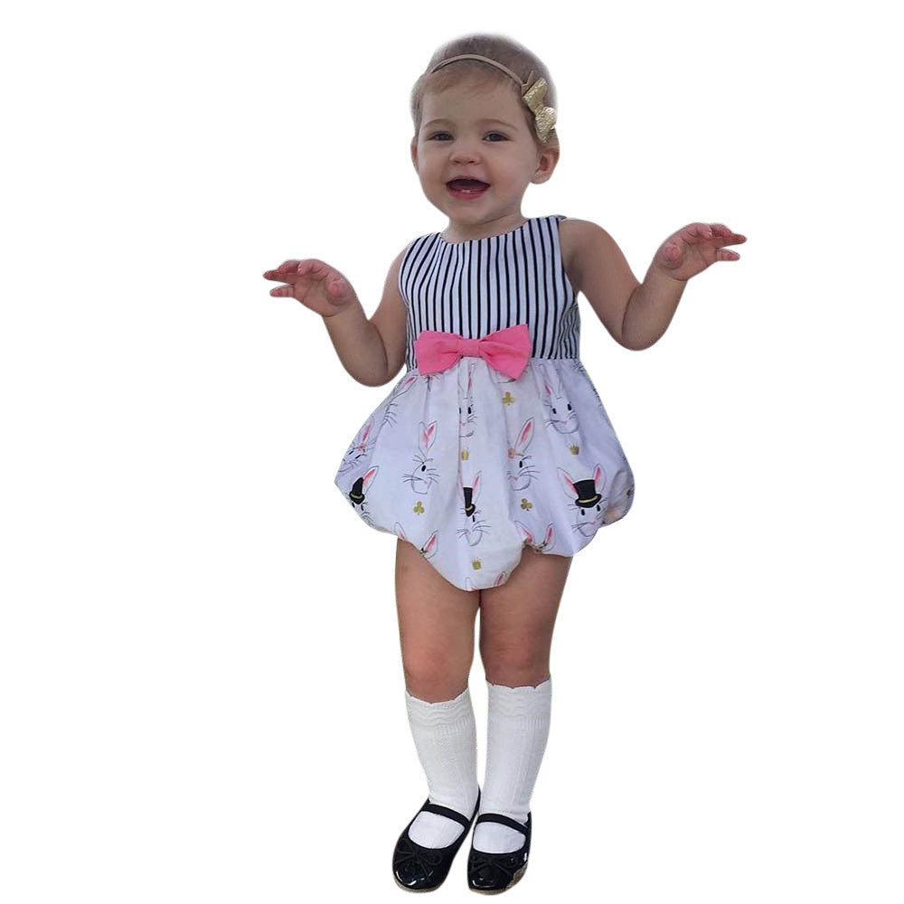 Infant Baby Boys Girls Easter Rabbit Print Striped Romper Jumpsuit Outfits