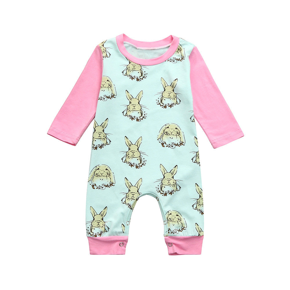 New Infant Baby Boys Girls Easter Cartoon Rabbit Print Romper Jumpsuit Outfits