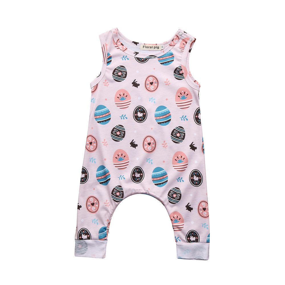 Newborn Infant Baby Boys Girls Easter Eggs Cartoon Print Romper Jumpsuit Outfits