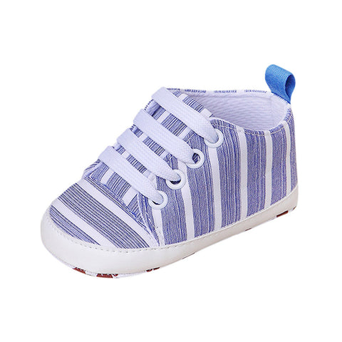 Newborn Infant Baby Stripe Girls Boys Soft Prewalker Casual Flats Shoes