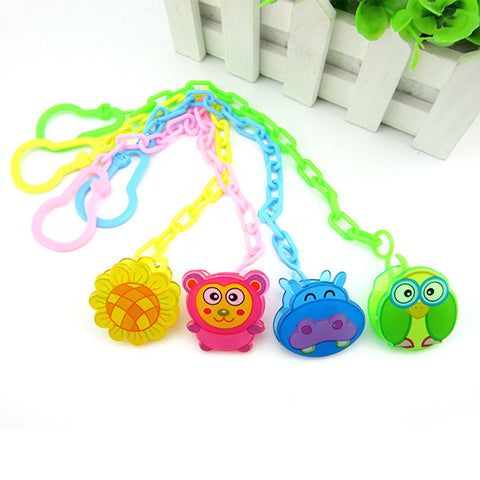 Cute Pacifiers Chain For Baby Soothers Chain Clip Nipple Holder Feeding Cartoon Animal Baby Pacifier Anti Lost Chain