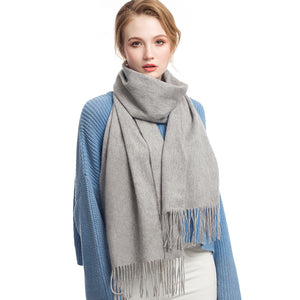 Wool Scarf Medium Gray