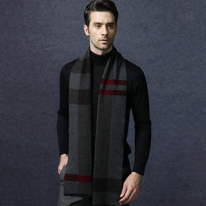 Wool Scarf Mens Plaid Black