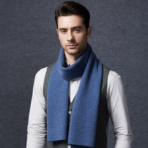 Wool Scarf Mens Navy