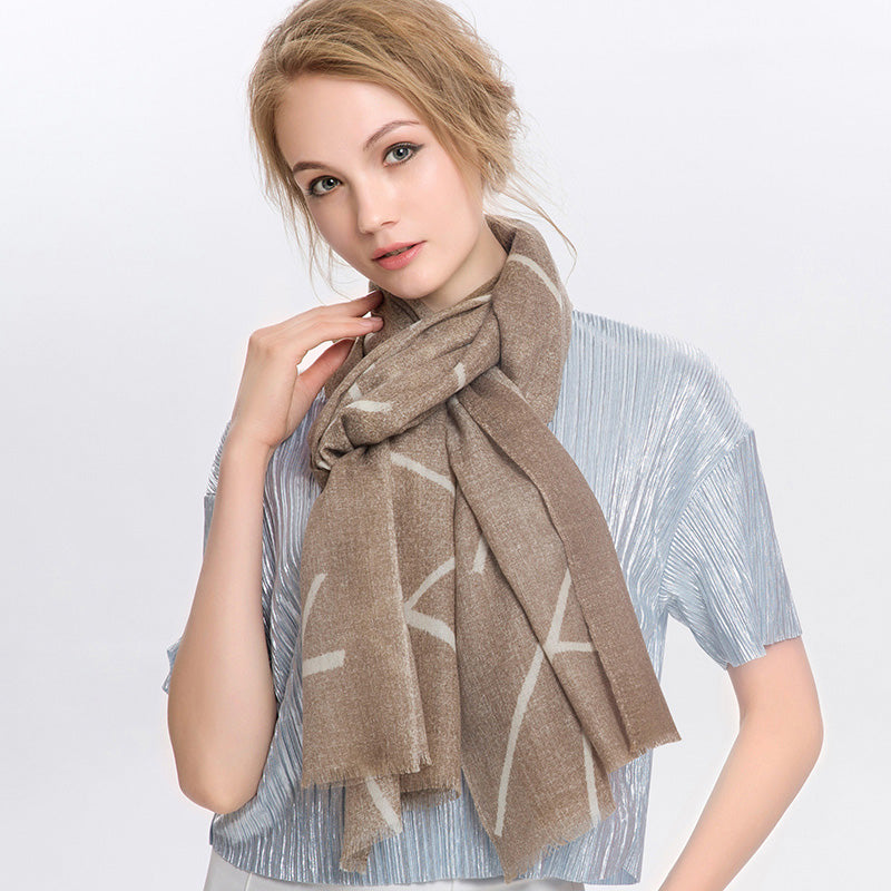 Wool Scarf Featherlight Shallow Coffee