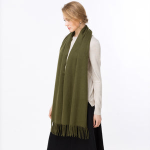 wool scarf army green