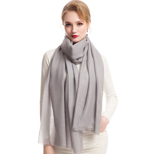 Wool Scarf Featherlight Pure Silver Gray