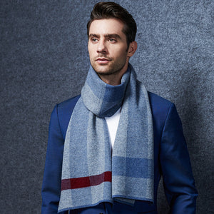 Wool Scarf Mens Plaid Blue