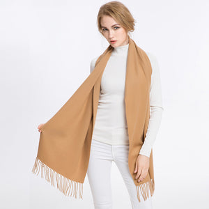 Wool Scarf Dark Camel