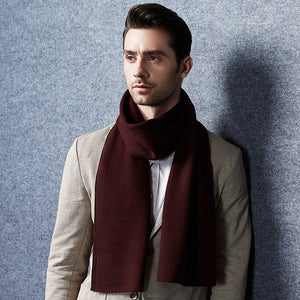 Wool Scarf Men Deep Red