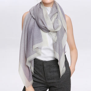 Wool Scarf Featherlight Purple Gray
