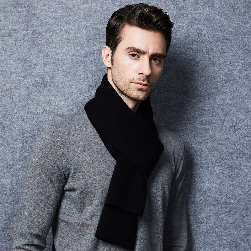 Wool Scarf Mens Black