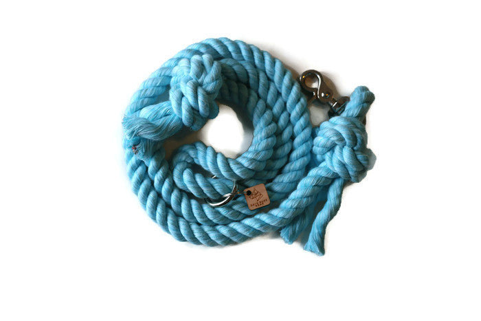 Aqua Knotted Rope Dog Leash