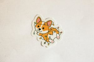 Corgi Festive Lights Sticker