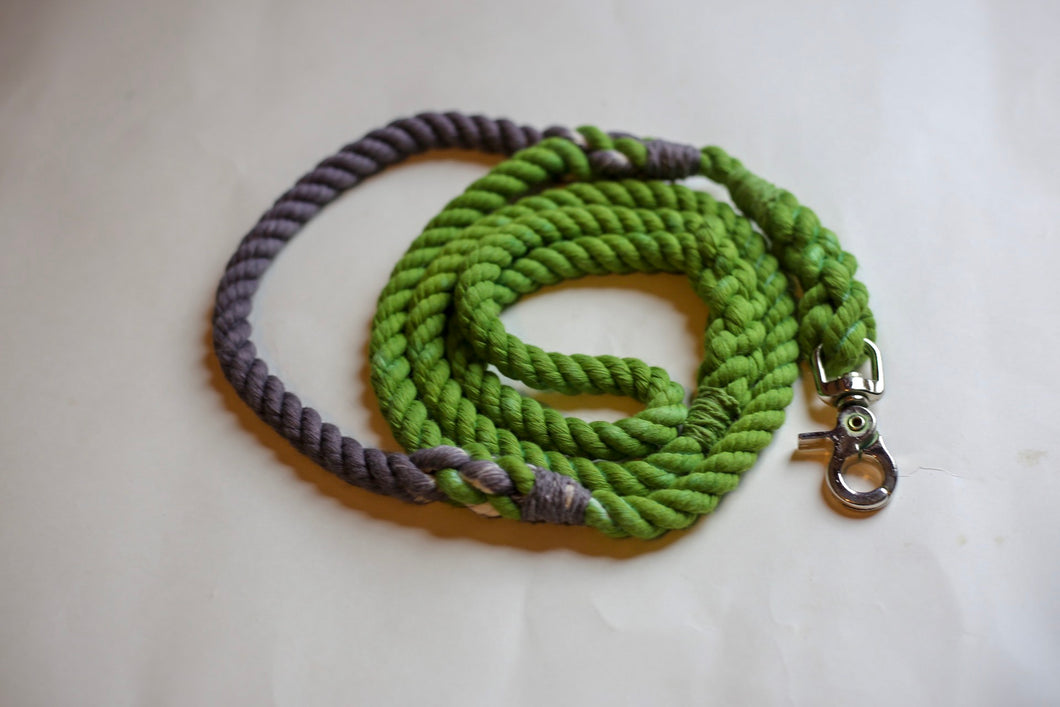 Green Rope Dog Leash with Grey Traffic Handle