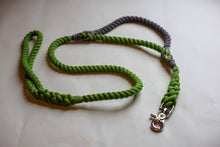 Load image into Gallery viewer, Green Rope Dog Leash with Grey Traffic Handle