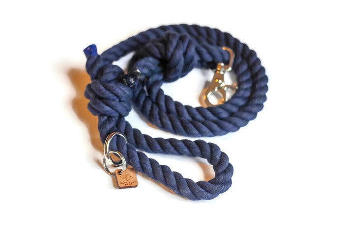 Navy Knotted Rope Dog Leash - Kai's Ruff Wear