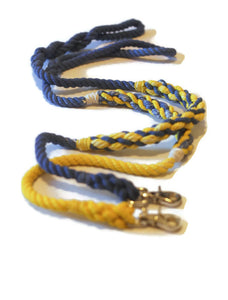 Blue with Yellow Weave Rope Dog Leash - Kai's Ruff Wear