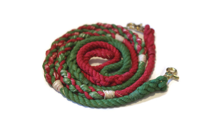 Green and Red Rope Dog Leash - Kai's Ruff Wear
