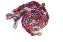 Load image into Gallery viewer, Red, White, and Blue Tie Dye Rope Leash - Kai's Ruff Wear