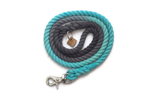 Grey and Aqua Rope Dog Leash - Kai's Ruff Wear