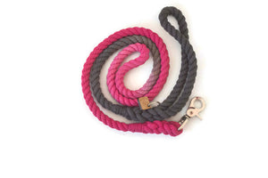 Pink and Grey Rope Dog Leash - Kai's Ruff Wear