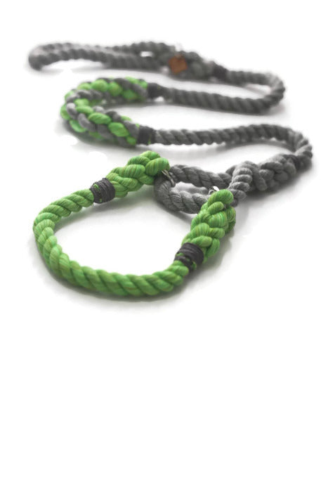 Grey and Green Martingale Rope Dog Leash - Kai's Ruff Wear