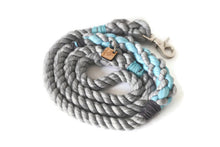Load image into Gallery viewer, Grey and Aqua Rope Dog Leash - Kai's Ruff Wear