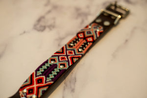 Woven Leather Dog Collar - Fiesta