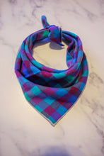Load image into Gallery viewer, Blue and Purple Plaid Bandana