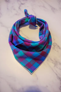 Blue and Purple Plaid Bandana
