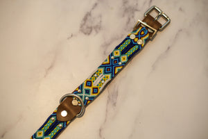 Woven Leather Dog Collar - Blue Sunset