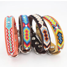 Load image into Gallery viewer, Woven Leather Dog Collar - Rainbow
