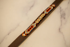 Woven Leather Dog Collar - Chocolate