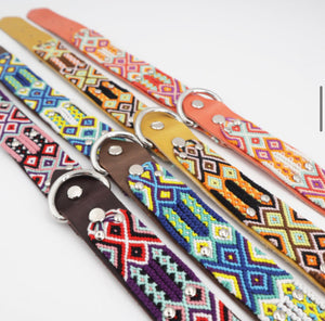 Woven Leather Dog Collar - Sunrise
