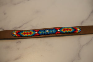 Woven Leather Dog Collar - Rainbow