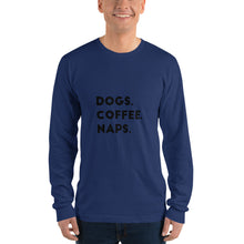 Load image into Gallery viewer, Dogs, Coffee, Naps Long sleeve t-shirt (unisex) - Kai's Ruff Wear