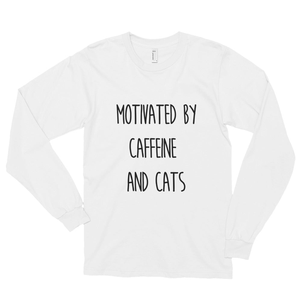 Motivated by Caffeine & Cats Long sleeve t-shirt (unisex) - Kai's Ruff Wear