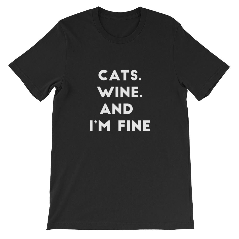 Cats Wine Fine Short-Sleeve Unisex T-Shirt - Kai's Ruff Wear
