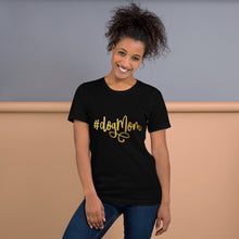 Load image into Gallery viewer, Black Heather t shirt that says Dog Mom on it in gold cursive text