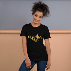Black Heather t shirt that says Dog Mom on it in gold cursive text