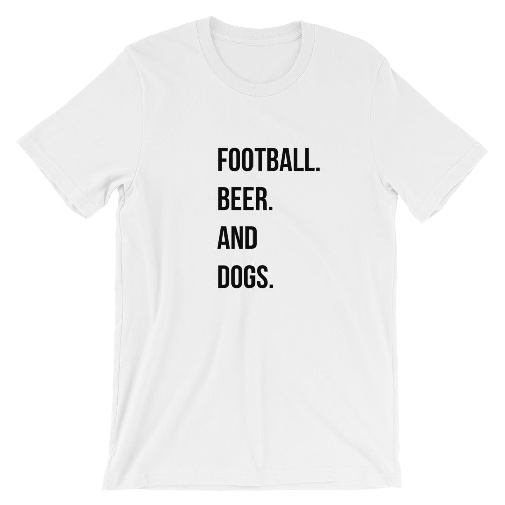 Football. Beer. Dogs. Short-Sleeve Unisex T-Shirt - Kai's Ruff Wear