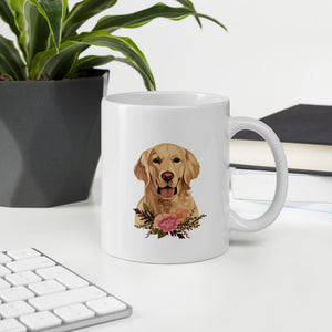 Floral Golden Retriever Mug