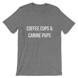 Coffee Cups & Canine Pups Short-Sleeve Unisex T-Shirt - Kai's Ruff Wear